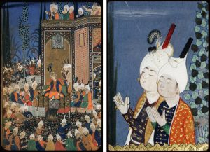 Side-by-side views of a miniature painting, illustrating detail visible only in the close up photos of the Welch collection. Full-view panel on left depicts a ruler sitting cross-legged on a platform surrounded by courtiers, with candles and wine set before him. Worshippers in the background gaze at the new moon from the flat rooftop of a tall building. The detail at right (Welch collection) reveals two young male courtiers in turbans and richly-embroidered clothing, praying with eyes closed and hands raised against a night sky.