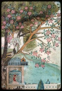 Tree with pink flowers against rolling blue hills. A small white dragon curls around a branch looking down on a temple.