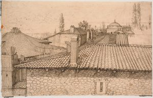 View of the rooftop of Constantinople depicted in pen and ink