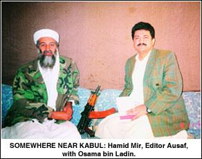Hamid Mir beside Osama bin Laden