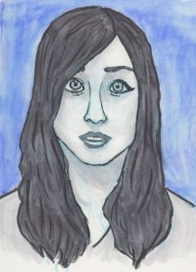 A lack-and-white drawing portrait of Rikki Poynter with a blue background.