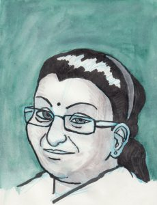 An illustrated drawing of Lavanya Sathasivam with a blue-green background.