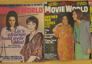 Elizabeth Taylor on the cover of Movie World magazine