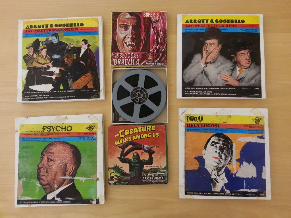 Several covers of Halloween-themed Castle Films, arranged in a mosaic boxes