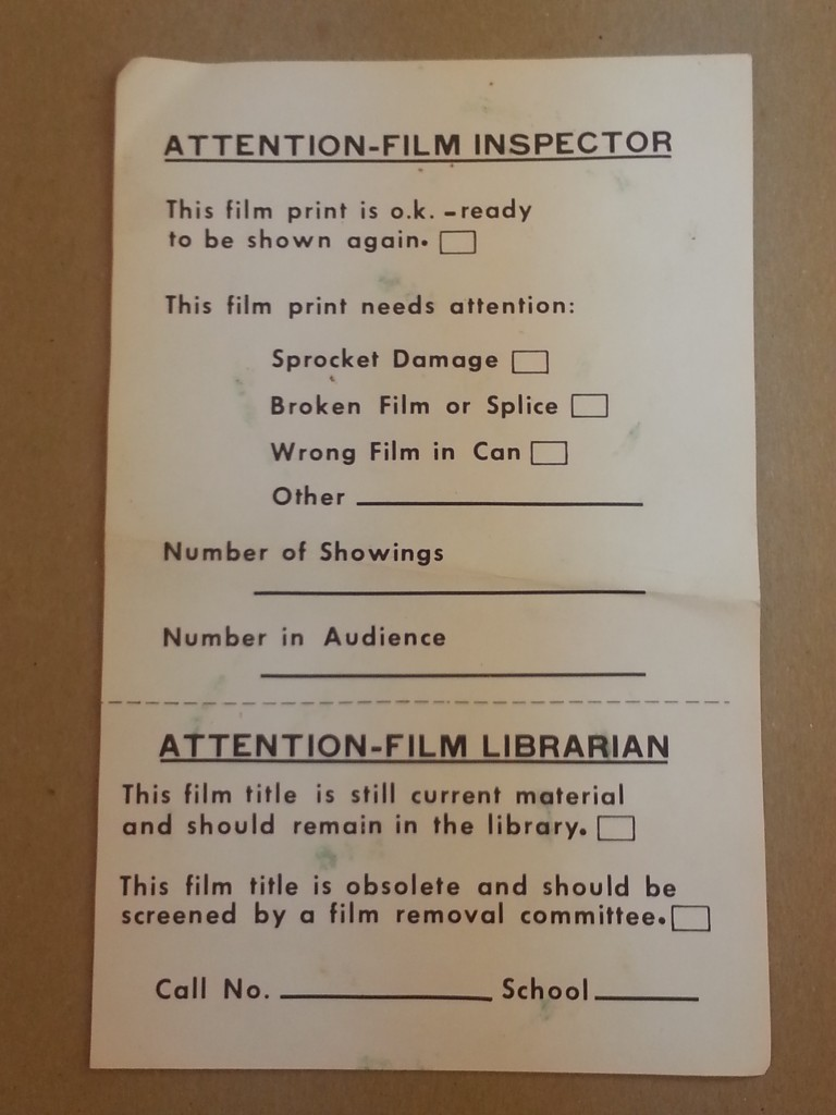 A form for providing information on a specific film print.