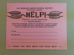 A printed card with blank lines to indicate film damage.