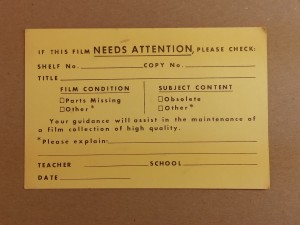 A form for alerting film distributors if a film needs extra care.