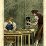 Type Founder image from The Book of Trades (London: Tabart & Co., 1805). Courtesy of Stephen O. Saxe.