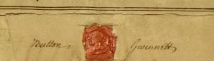 Button Gwinnett signature, pfMS Am 1300-1 (detail)