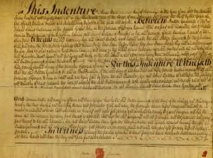 Button Gwinnett manuscript indenture, pfMS Am 1300.1