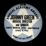 Access badge, Academy Awards, 1962, MS Thr 569 (1945)