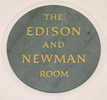 Sign for the Edison and Newman Room, created by Nicholas Benson