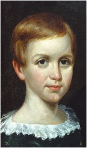 Emily Dickinson, age 9. Detail from O.A. Bullard,The Dickinson Children. Dickinson Room, Houghton Library