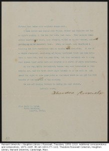 MS Am 1834 (98). Theodore Roosevelt Collection, Houghton Library.