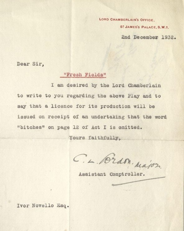 Lord Chamberlain's Office. Letter to Ivor Novello, 1932. MS Thr 695 (29)