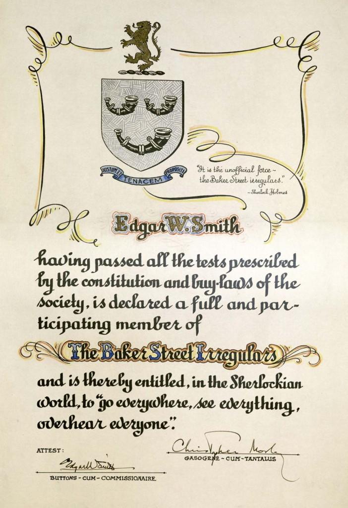 Baker Street Irregulars, Investiture of Edgar W. Smith. MS Am 2717 (381)