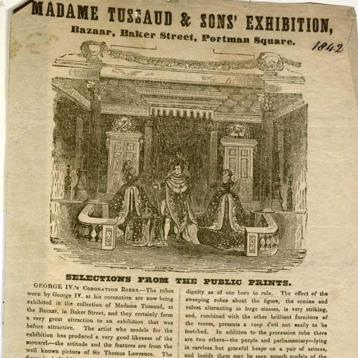 Madam Tussaud's advertisement, 1842. MS Thr 699 (1)