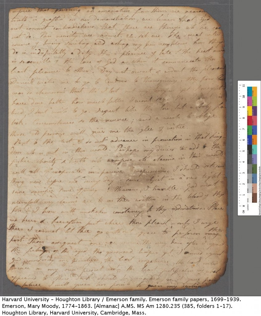 Emerson, Mary Moody, 1774-1863. [Almanac] MS Am 1280.235