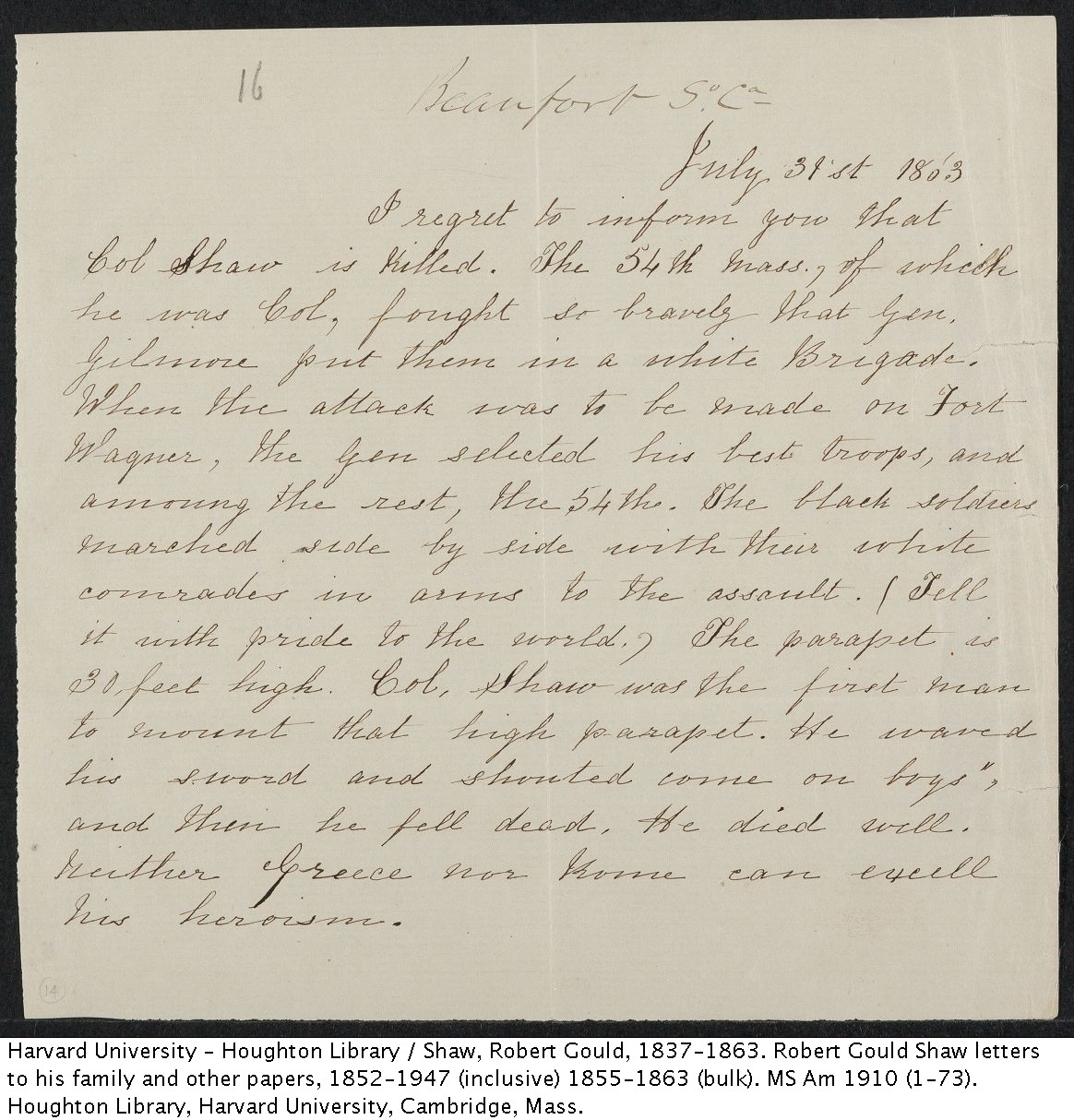 Notice of the death of Robert Gould Shaw. MS Am 1910 (14)