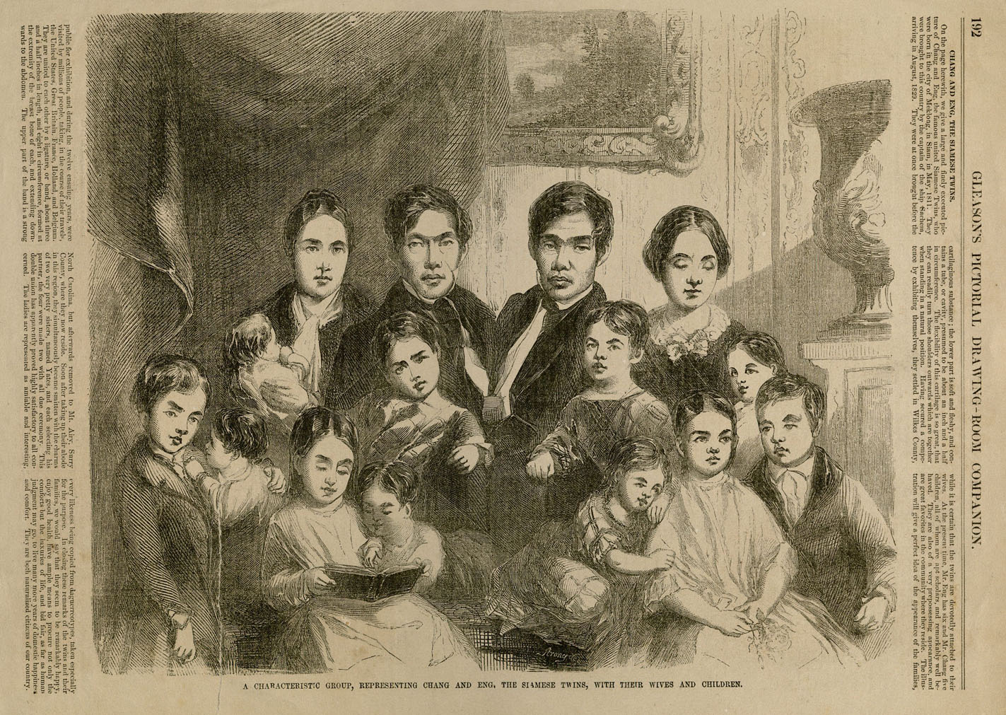Chang and Eng Bunker with their families. Popular Entertainment Prints. Harvard Theatre Collection