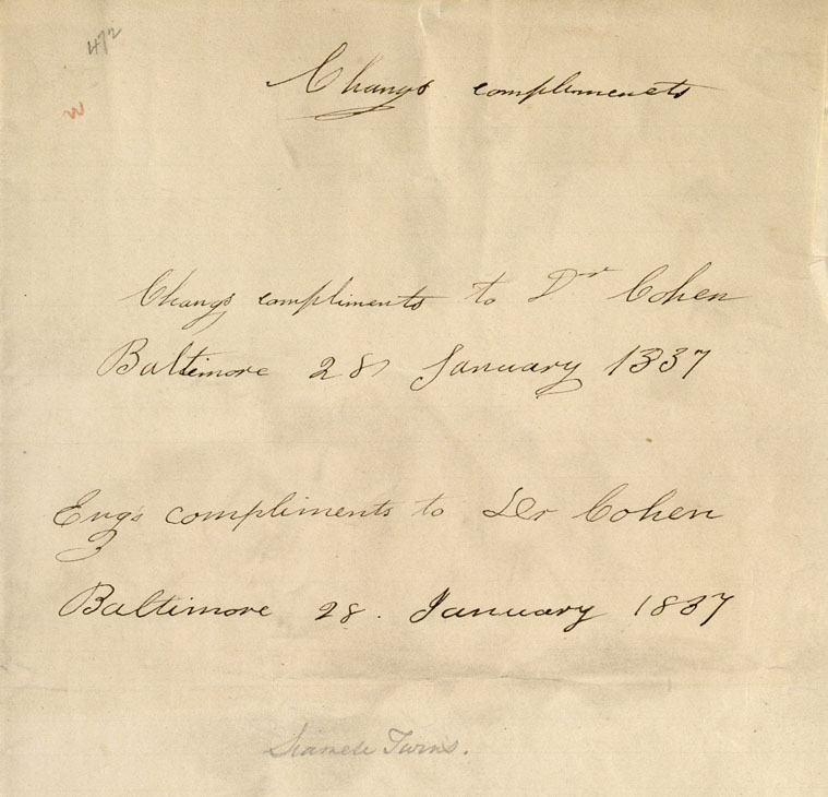 Bunker, Chang. Bunker, Eng. Letter to Dr. Cohen, 1837. MS Thr 467.