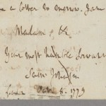 Samuel Johnson. Letter to Hester Thrale, Oct. 8, 1779. MS Hyde 1 (93)