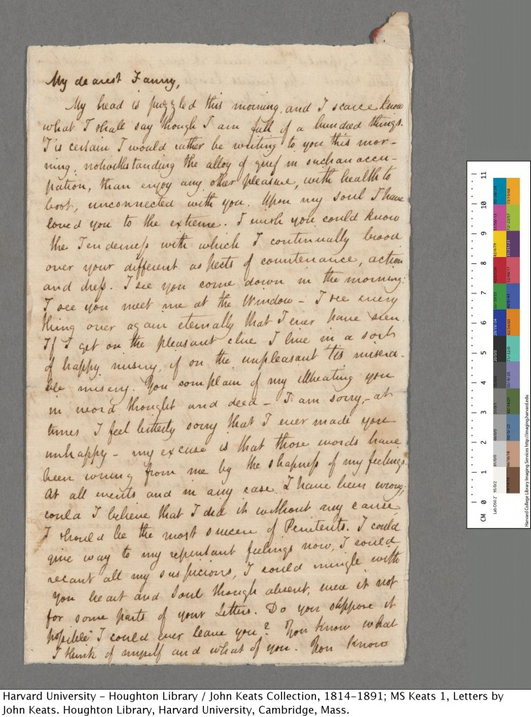 MS Keats 1.79. Bequest of Amy Lowell, 1925. Houghton Library, Harvard University.