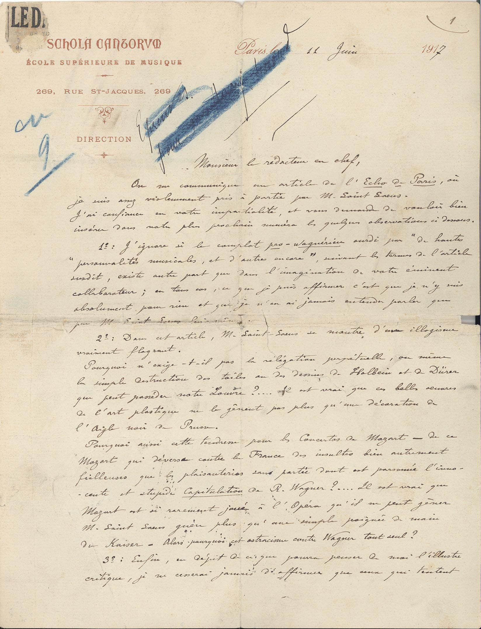 Vincent D'Indy, 1917. MS Thr 519, 2009TW-190