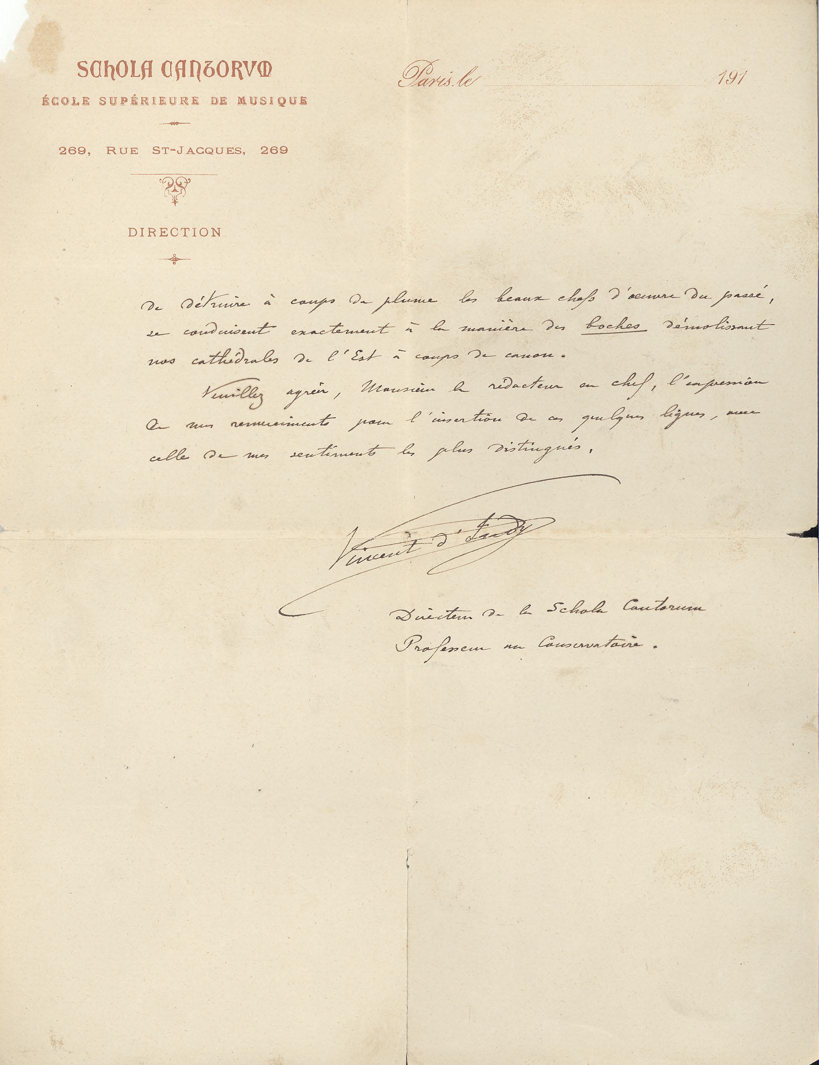 Vincent D'Indy, 1917 (verso). MS Thr 519, 2009TW-190