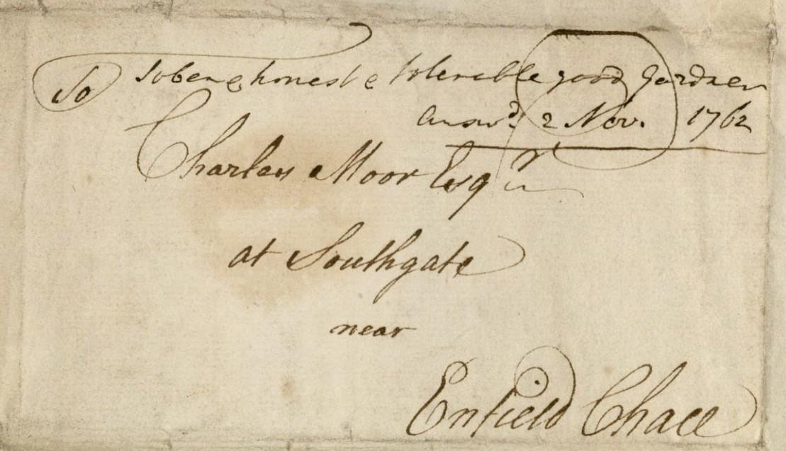 Universal Register Office printed letter (verso), 1762. 2011-580