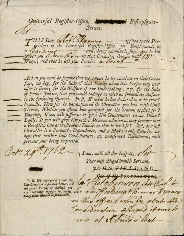 Universal Register Office printed letter, 1762. 2011-580