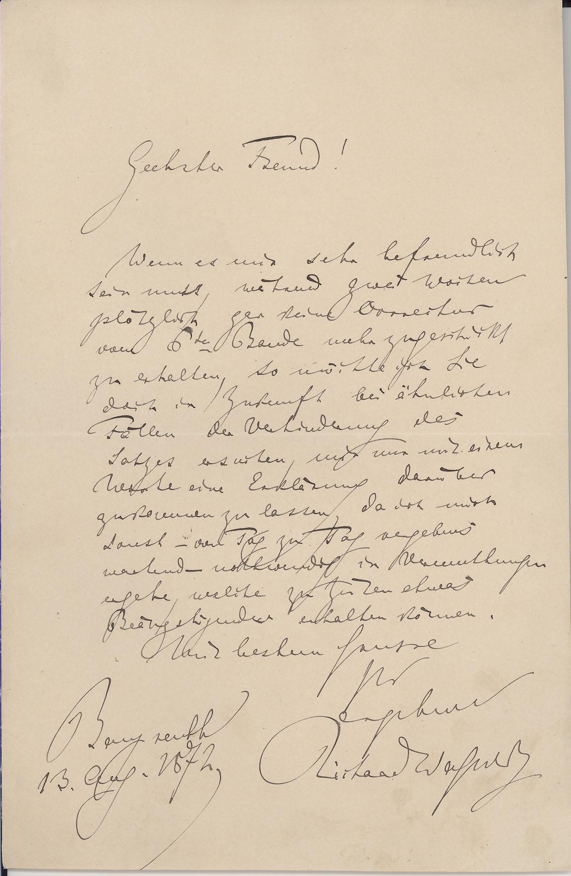Richard Wagner, 1872. MS Thr 519, 2008TW-1027(1)