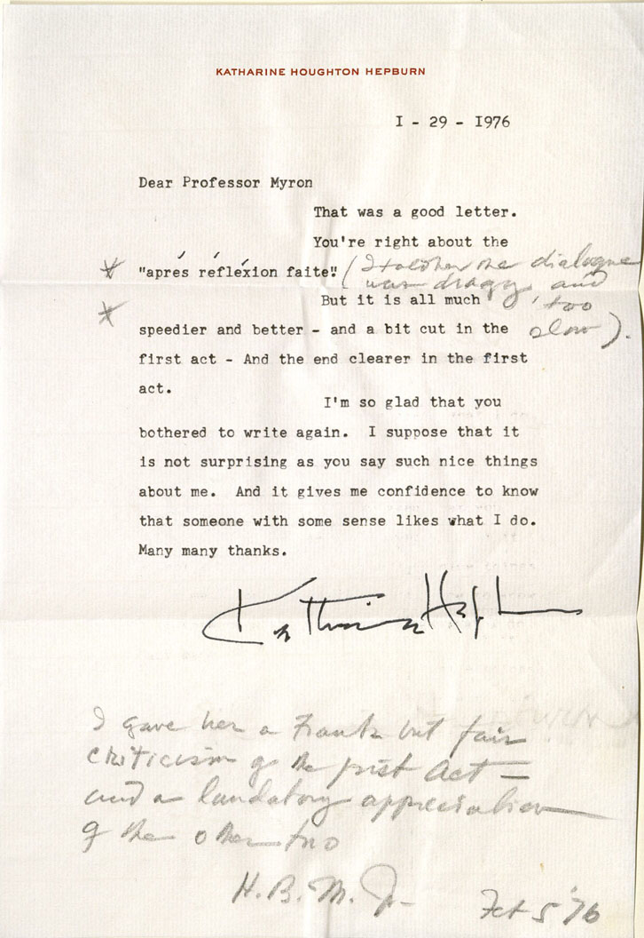 Katharine Hepburn, ALS to Herbert Myron, 1976. MS Thr 467