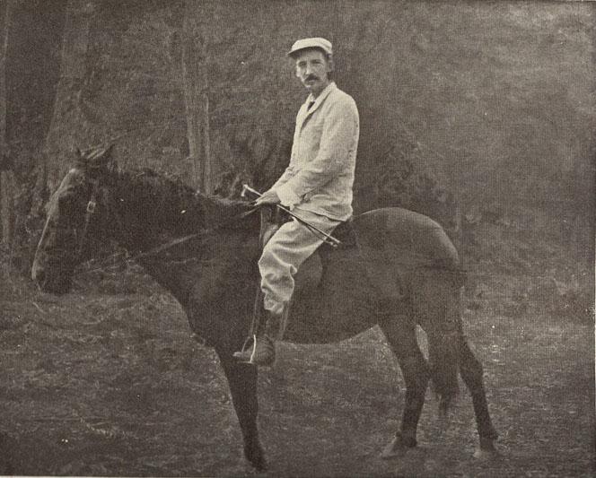 Robert Louis Stevenson on his horse, Jack. HEW 10.11.9