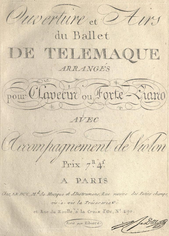 Krasinsky. Ouverture et airs du ballet de Telemaque, 1790. M1497 .M68 1787a F