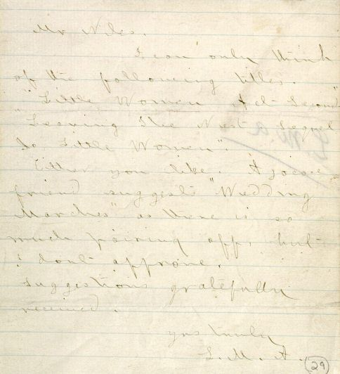 Louisa May Alcott. Letter to Thomas Niiles, 1869. MS Am 1130.4 (29)
