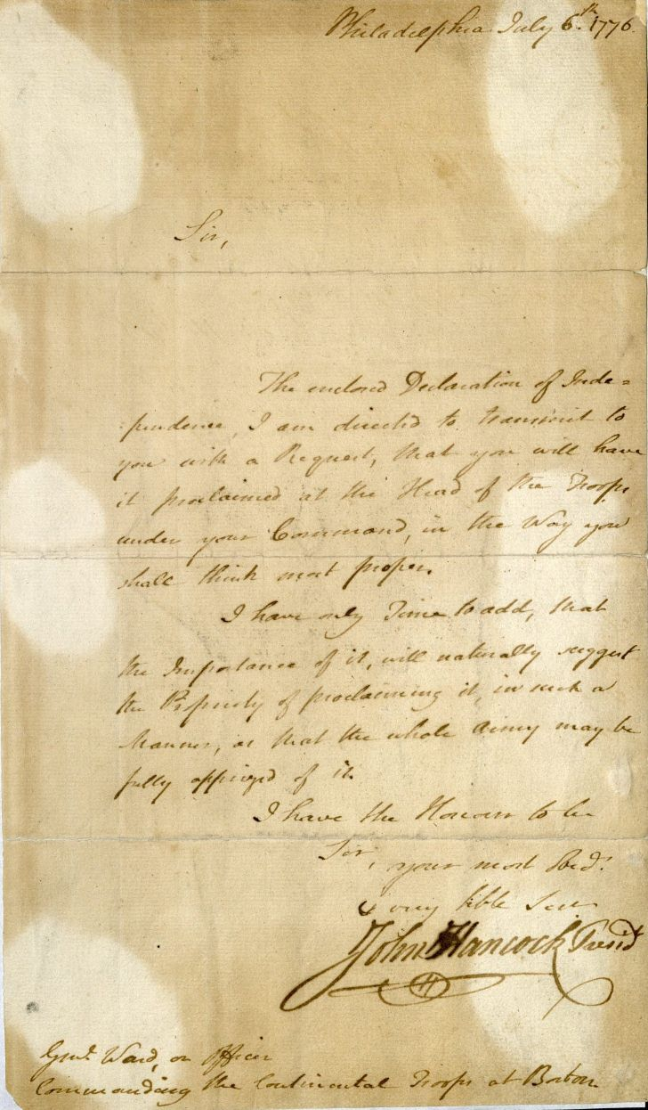 John Hancock, ALS to Artemas Ward, 1776. MS Am 1300 (1)