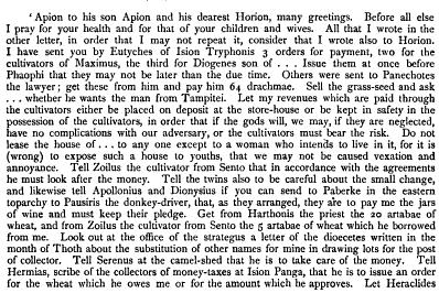 Translation MS Gr SM4358 from The Oxyrynchus Papyri, part 3 ed. B.P. Grenfell and A. S. Hunt, pp. 272-273.
