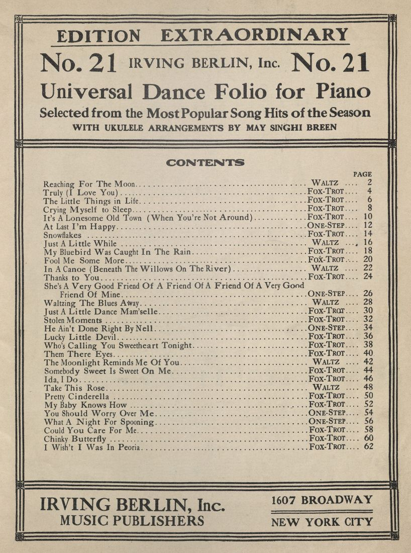 Universal dance folio for piano, no. 21, p. [1]. 2006TW-113(11)