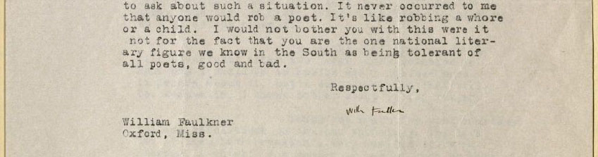 William Faulkner, Letter to William Stanley Braithwaite, 1926. MS Am 1444 (346)