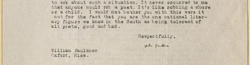 William Faulkner, Letter to William Stanley Braithwaite, 1926. MS Am 1444 (346)