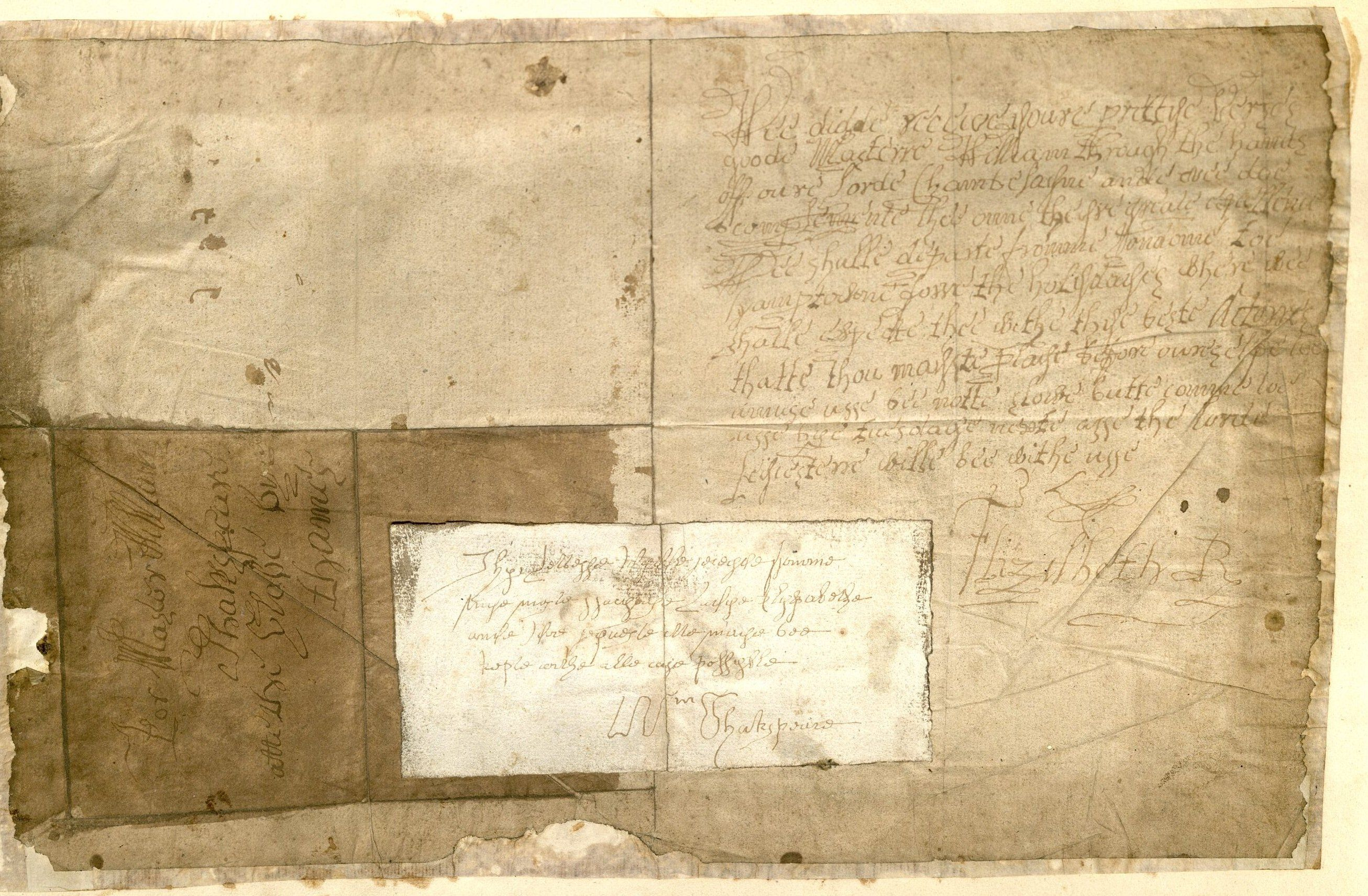 Forged letter from Elizabeth I by William Henry Ireland. MS Hyde 60 v. 5.