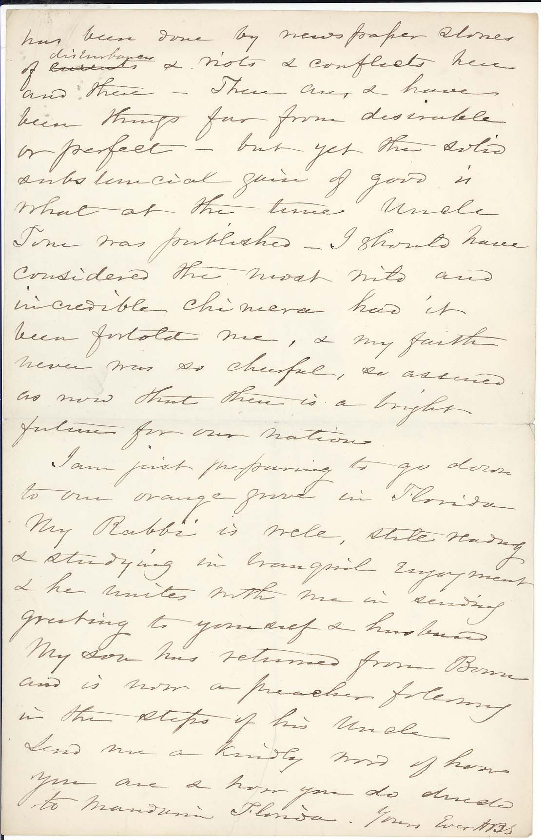 Harriet Beecher Stowe, Letter to George Eliot, 1878. Lowell Autographs, 302a, p.3