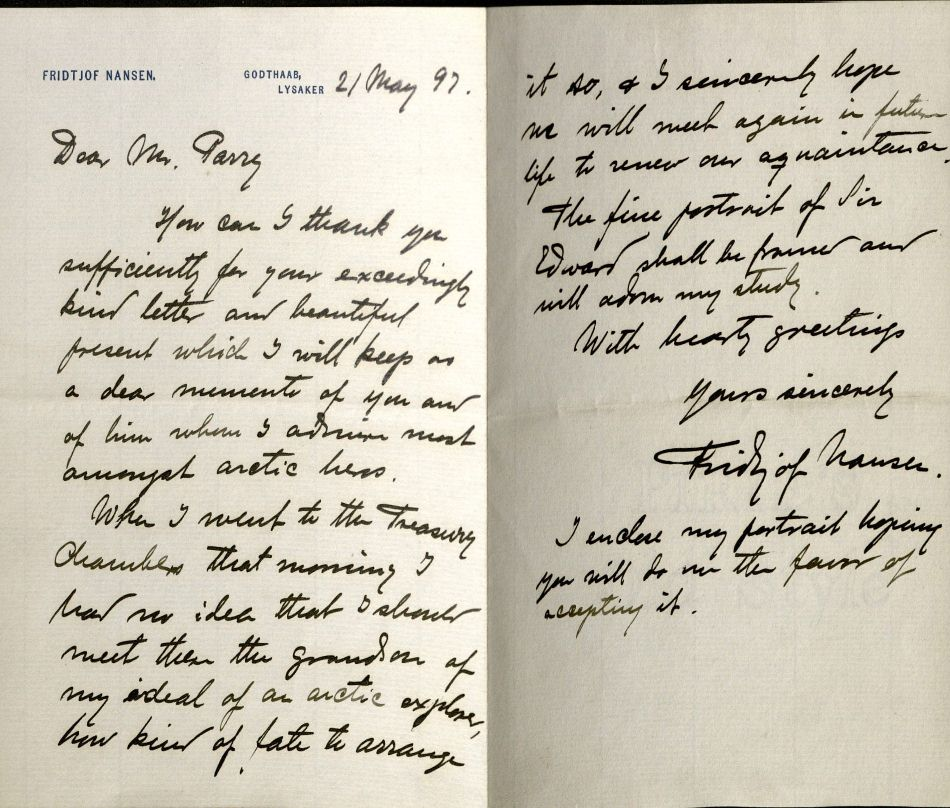 Nansen, Fridtjof. Letter to Frederick Sydney Parry, 1897 May 21. MS Eng 1510 (3)