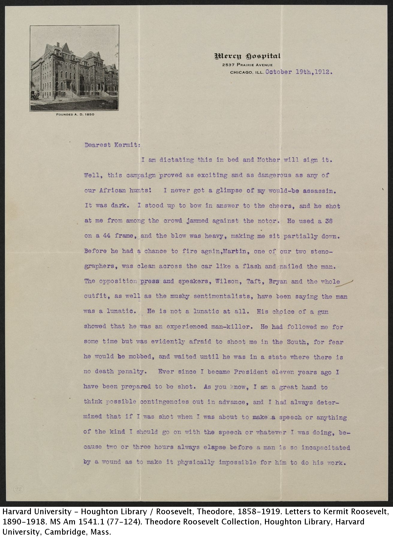 Theodore Roosevelt to Kermit Roosevelt, October 19, 1912. MS Am 1541.1 (92) p.1
