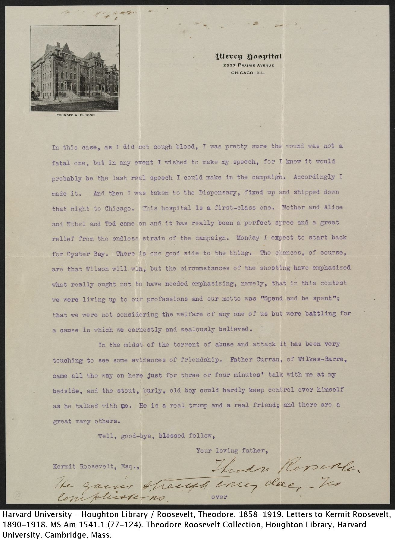 Theodore Roosevelt to Kermit Roosevelt, October 19, 1912. MS Am 1541.1 (92) p.2