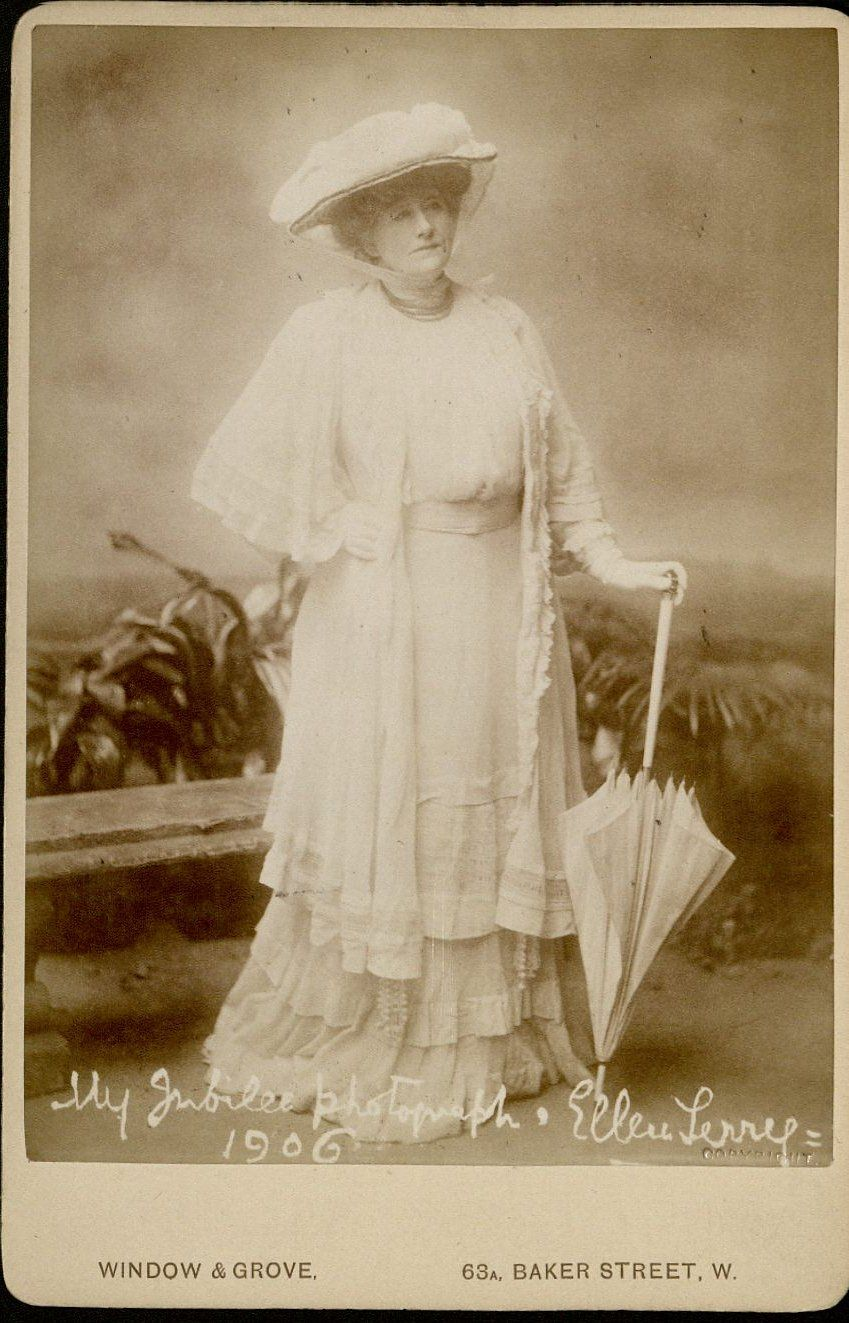 Ellen Terry as Lady Cicely Waynflete from Shaw's Captain Brassbound's Conversion: cabinet photograph, ca. 1906. MS Thr 731 (7)