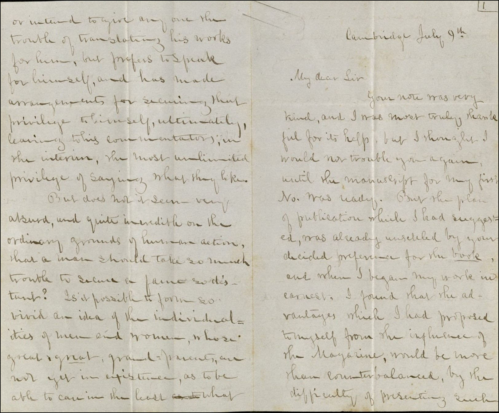 Delia Bacon, letter to Ralph Waldo Emerson, 1852, p.1r. MS Am 1280 (139)