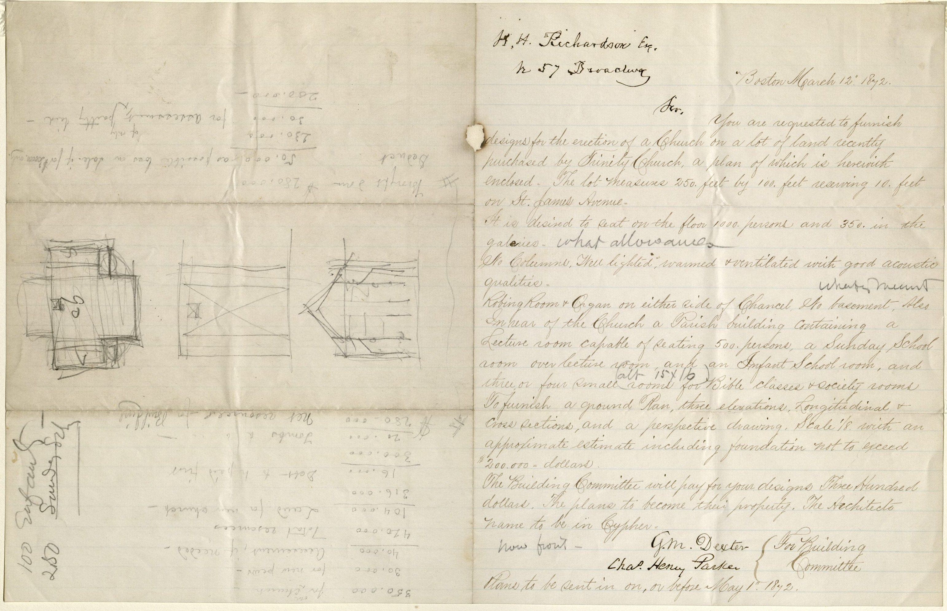 Dexter, George Minot, 1802-1872. 1 letter to Henry Hobson Richardson; Boston, 12 Mar 1872. Houghton Library, Harvard University, MS Typ 1097 (42)