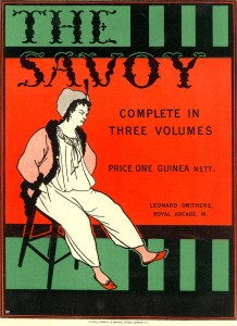 Beardsley, Aubrey, 1872-1898. Prospectus for The Savoy. Complete in three volumes : colored poster line block print; London, ca. 1895. MS Typ 1169 (11)